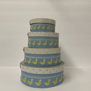 Vintage wood round  boxes with ducks set of 4.